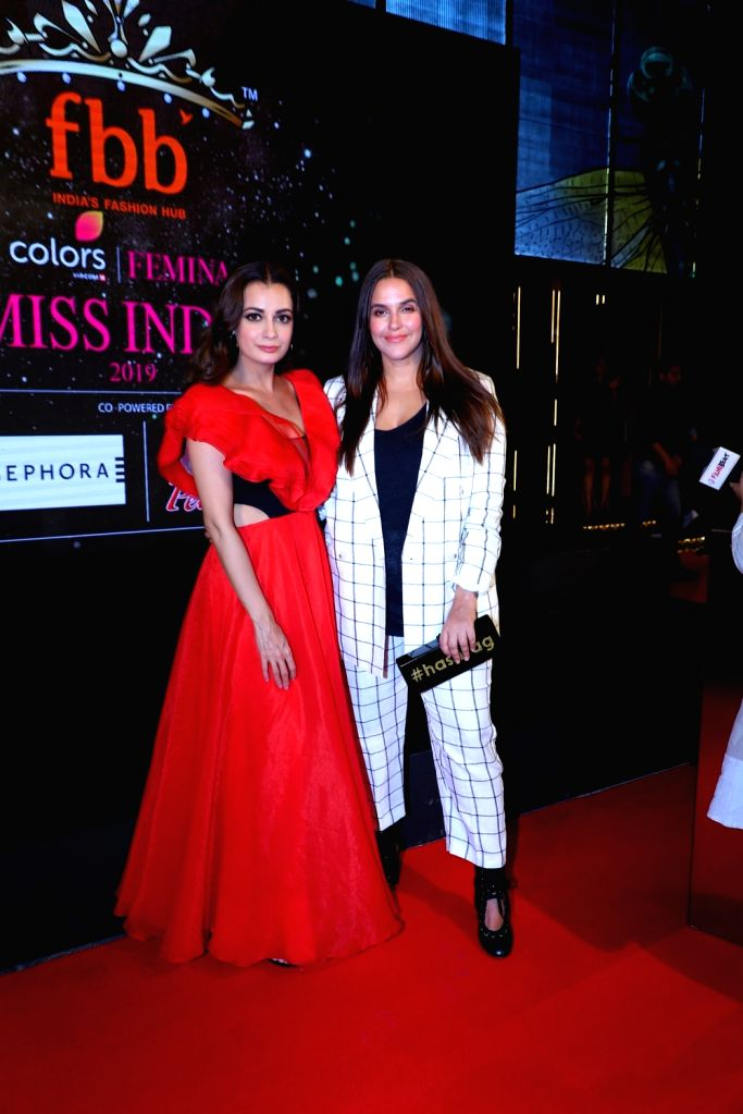 Actresses Dia Mirza and Neha Dhupia during a programme organised by fbb Colors Femina Miss India 2019, in Mumbai, on May 26, 2019. - Dia Mirza and Neha Dhupia