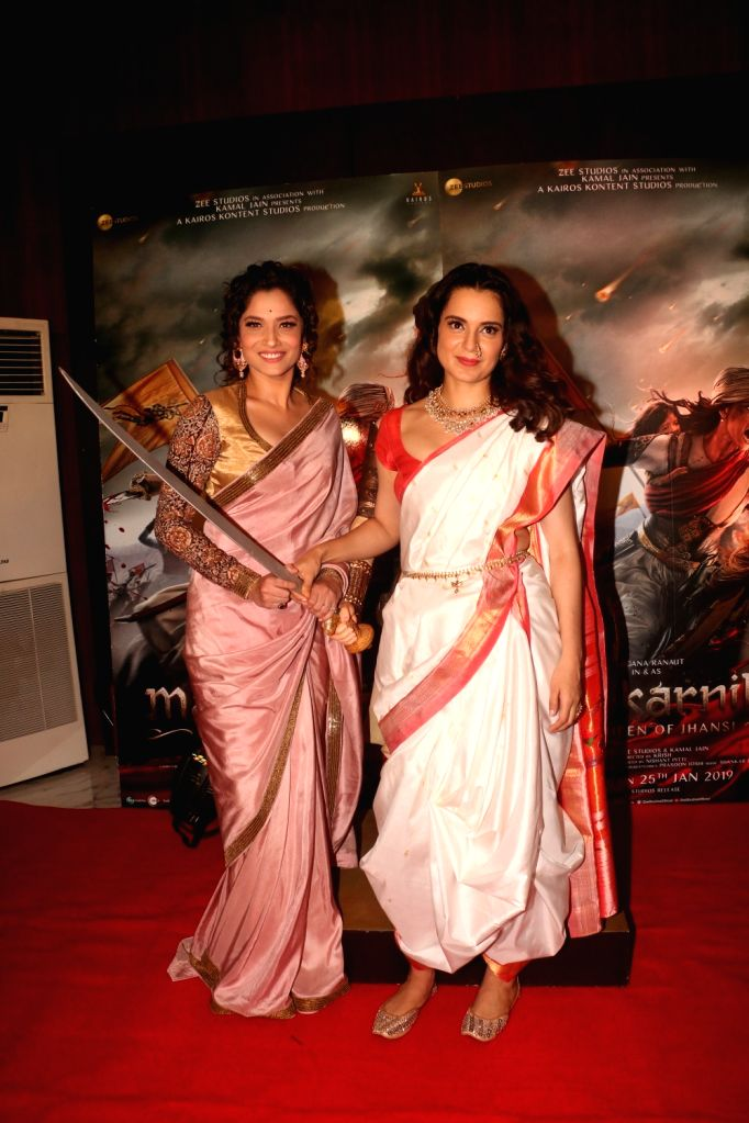 Actresses Kangana Ranaut and Ankita Lokhande at the success party of their film 'Manikarnika: The Queen Of Jhansi', in Mumbai, on March 3, 2019. - Kangana Ranaut and Ankita Lokhande