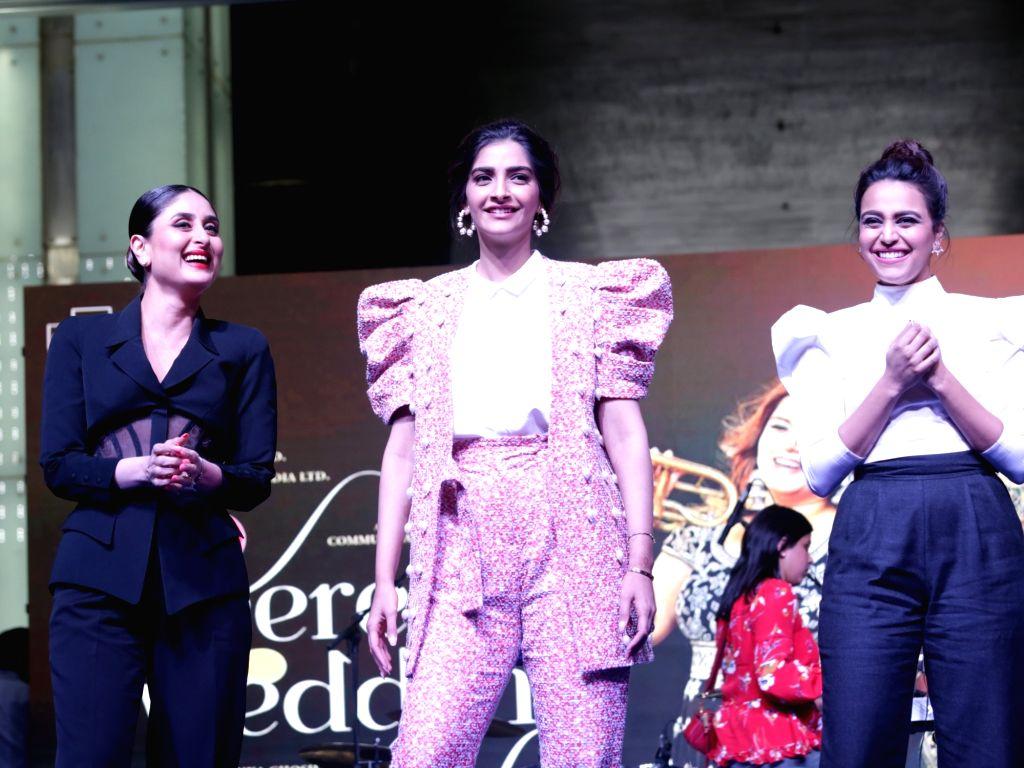 "Actresses Kareena Kapoor, Sonam Kapoor and Swara Bhaskar during a programme organised to promote their upcoming film ""Veere Di Wedding"" in Gurugram, on May 25, 2018. - Kareena Kapoor, Sonam Kapoor and Swara Bhaskar"