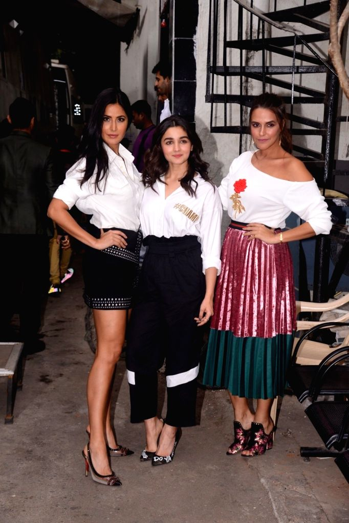"""Actresses Katrina Kaif, Alia Bhatt and Neha Dhupia on the sets of television reality show """"Vogue BFFs"""" season two in Mumbai on Dec 4, 2017. - Katrina Kaif, Alia Bhatt and Neha Dhupia"""