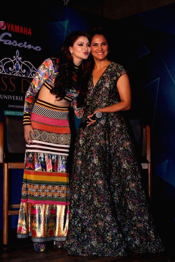 Actresses Lara Dutta and Urvashi Rautela during the 1st Ever Bloggers Meet Of Yamaha Fascino Miss Diva Miss Universe India 2017 in Mumbai on Sept 8, 2017. - Lara Dutta and Urvashi Rautela
