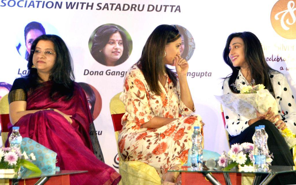 Actresses Lara Dutta, Rituparna Sengupta along with Odishi dancer Dona Ganguly during a promotional programme in Kolkata on Feb. 2, 2019. - Lara Dutta and Rituparna Sengupta