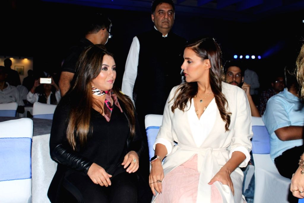 Actresses Mahima Chaudhry  and Neha Dhupia at the launch of a mattress brand in Munbai on July 4, 2017. - Mahima Chaudhry and Neha Dhupia