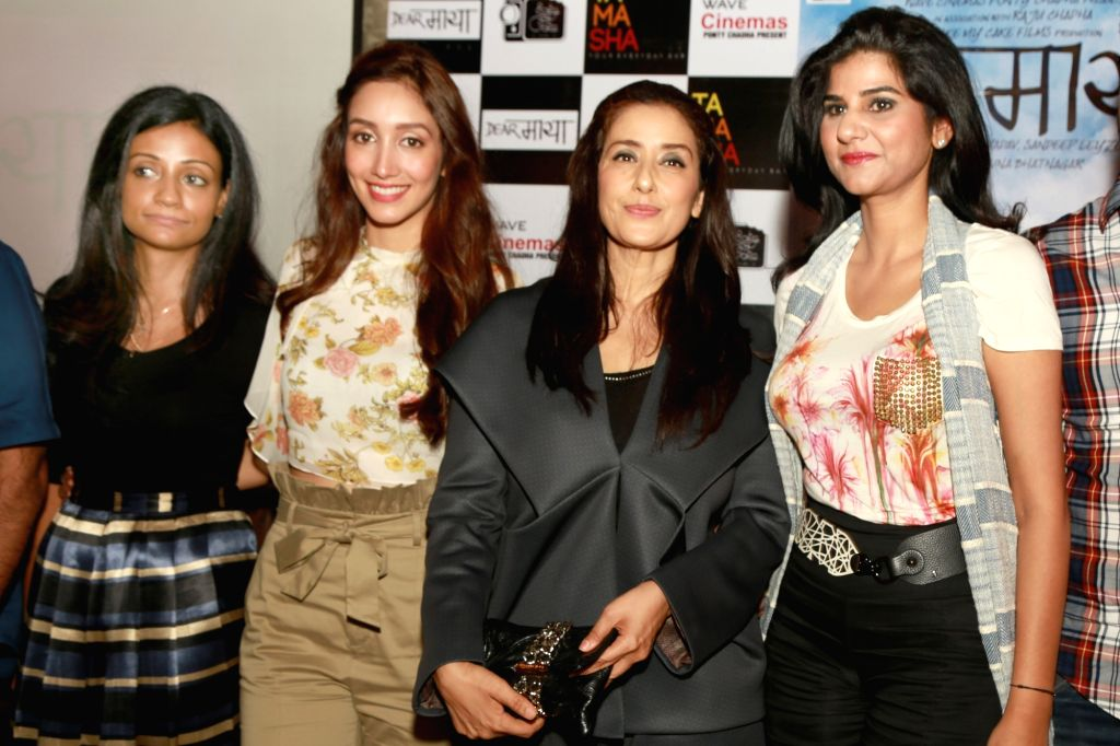 "Actresses Manisha Koirala, Shreya Chaudhary and Madiha Imam with Filmmaker Sunaina Bhatnagar during a programme organised to promote their upcoming film ""Dear Maya"" in New Delhi, ... - Sunaina Bhatnagar, Manisha Koirala, Shreya Chaudhary and Madiha Imam"