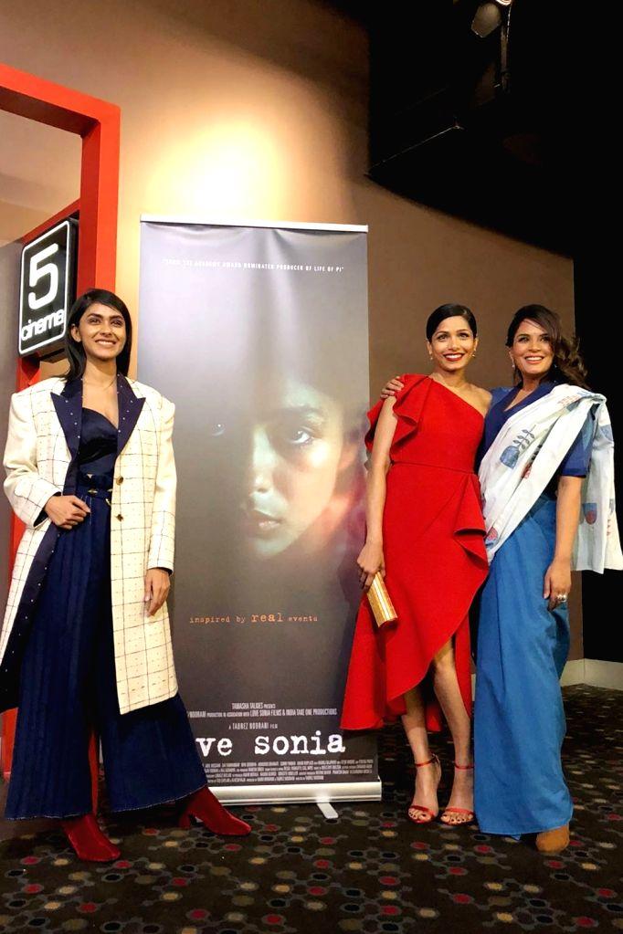 Actresses Mrunal Thakur, Richa Chadha  and Freida Pinto at the Indian Film Festival of Melbourne (IFFM) in Melbourne on Aug 11, 2018. - Mrunal Thakur and Richa Chadha