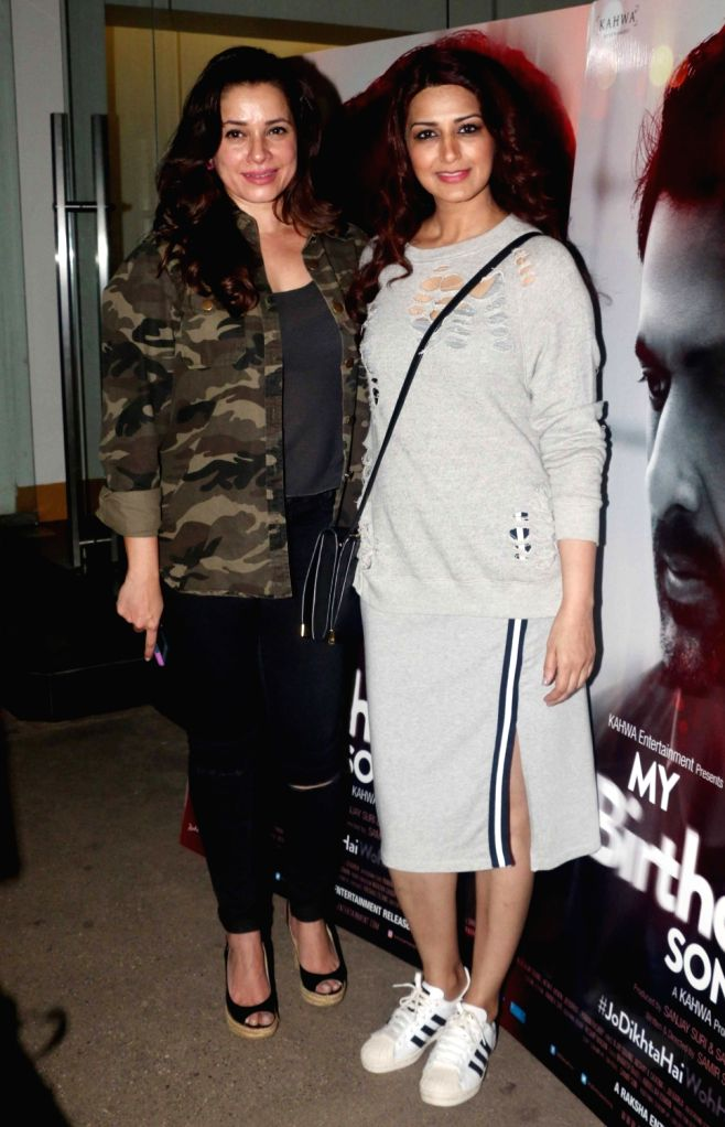"Actresses Neelam Kothari and  Sonali Bendre at the special screening of upcoming film ""My Birthday Song"" in Mumbai on Jan 16, 2018. - Neelam Kothari and Sonali Bendre"