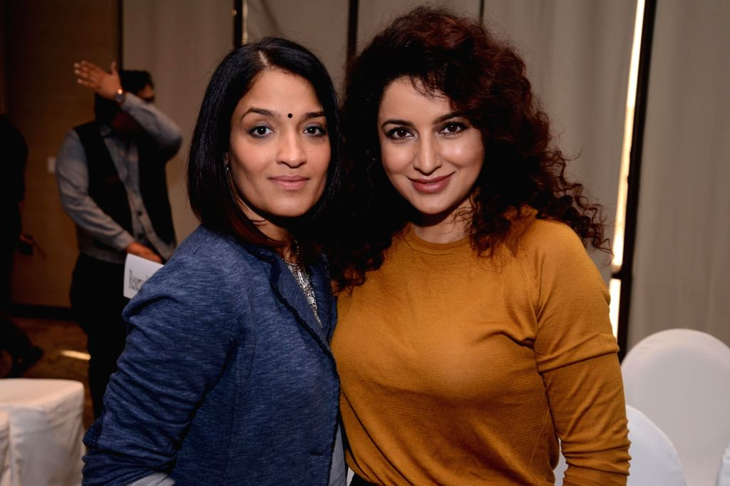 Actresses Sandhya Mridul and Tisca Chopra at the launch of Maria Goretti`s book `From My Kitchen` in New Delhi on Nov 15, 2015. - Sandhya Mridul and Tisca Chopra