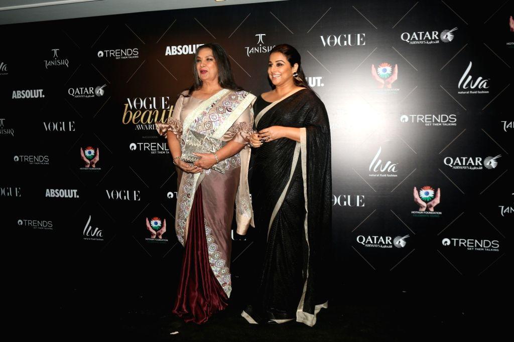 "Actresses Shabana Azmi and Vidya Balan at the red carpet of ""Vogue Beauty Awards"" in Mumbai on July 31, 2018. - Shabana Azmi and Vidya Balan"