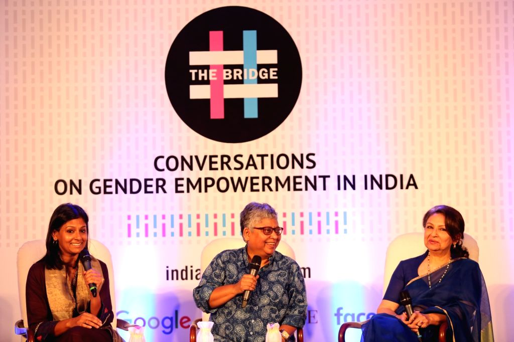"""Actresses Sharmila Tagore and Nandita Das with essayist Shohini Ghosh at """" he Bridge"""" -  India's first conclave on gender empowerment in New Delhi, on Oct 8, 2016. - Sharmila Tagore, Nandita Das and Shohini Ghosh"""