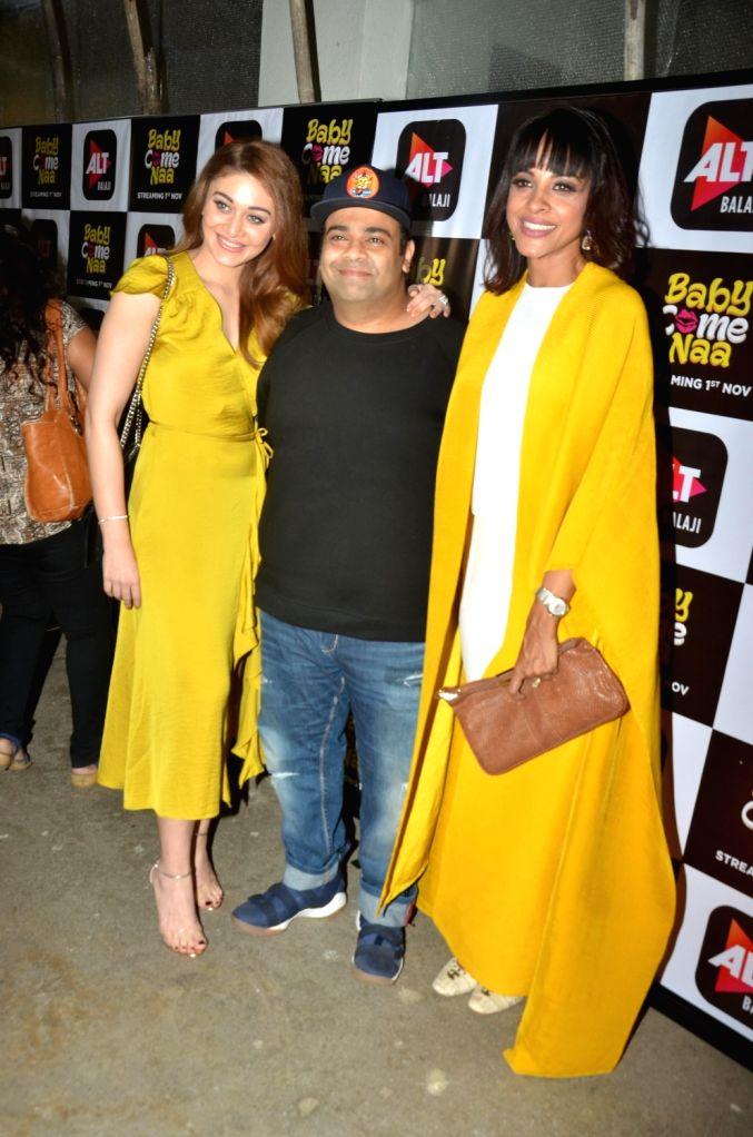 "Actresses Shefali Jariwala, Manasi Scott and comedian Kiku Sharda at the screening of ALT Balaji's ""Baby Come Naa"" web series in Mumbai on Oct 30, 2018. - Shefali Jariwala and Manasi Scott"