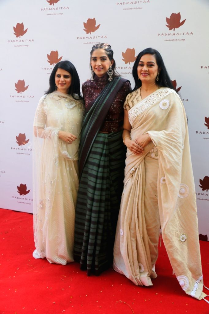 Actresses Sonam Kapoor and Padmini Kolhapure at the launch of Padmasitaa clothing collection in Mumbai on Jan 25, 2018. - Sonam Kapoor and Padmini Kolhapure
