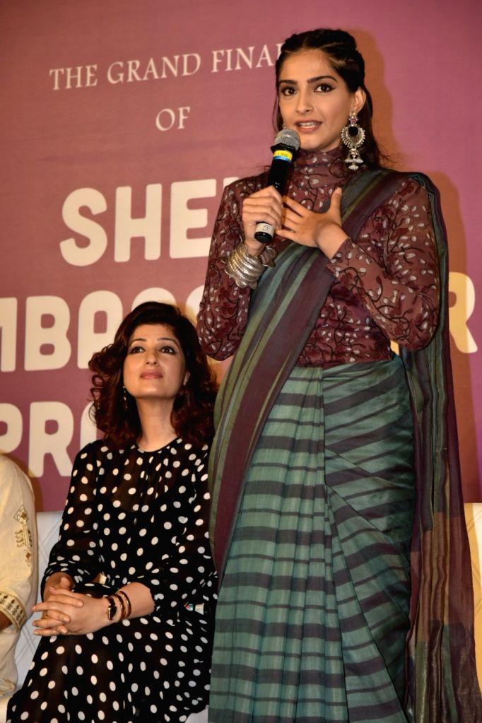 Actresses Sonam Kapoor and Twinkle Khanna during a program in Mumbai on Jan 25, 2018. - Sonam Kapoor and Twinkle Khanna