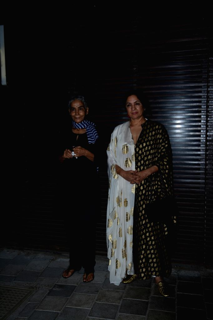 "Actresses Surekha Sikri and Neena Gupta at the success party of their film ""Badhaai Ho"" in Mumbai on Oct 30, 2018. - Surekha Sikri and Neena Gupta"