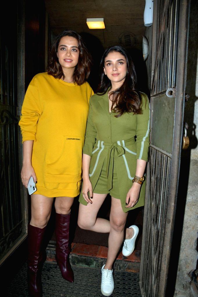 Actresses Surveen Chawla and Aditi Rao Hydari at celebrity trainer Namrata Purohit's song launch in Mumbai, on Feb 19, 2019. - Surveen Chawla and Aditi Rao Hydari