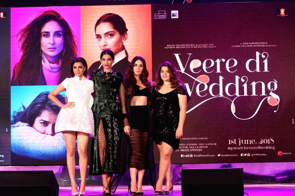 "Actresses Swara Bhasker, Sonam Kapoor Ahuja,  Kareena Kapoor Khan and Shikha Talsania at the music launch of their upcoming film ""Veere Di Wedding"" in Mumbai on May 22, 2018. - Swara Bhasker, Sonam Kapoor Ahuja, Kareena Kapoor Khan and Shikha Talsania"