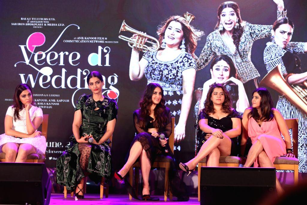 "Actresses Swara Bhasker, Sonam Kapoor Ahuja, Kareena Kapoor Khan, Shikha Talsania and producer Ekta Kapoor  at the music launch of their upcoming film ""Veere Di Wedding"" in Mumbai ... - Swara Bhasker, Sonam Kapoor Ahuja, Kareena Kapoor Khan, Shikha Talsania and Ekta Kapoor"