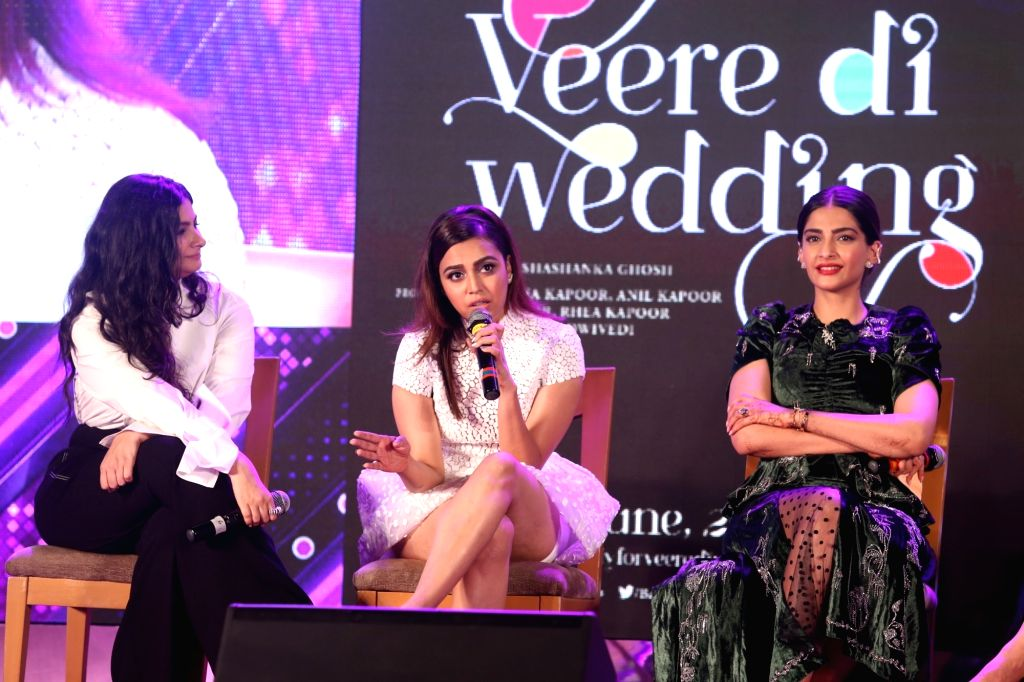 """Actresses Swara Bhasker, Sonam Kapoor Ahuja and producer Rhea Kapoor  at the music launch of their upcoming film """"Veere Di Wedding"""" in Mumbai on May 22, 2018. - Swara Bhasker and Sonam Kapoor Ahuja"""
