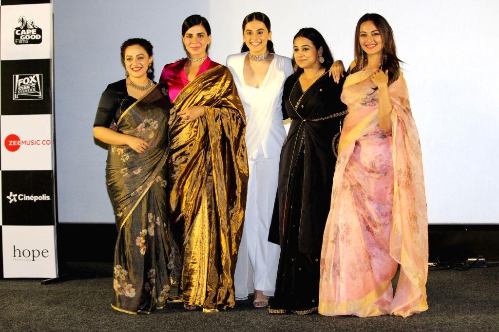 "Actresses Taapsee Pannu, Sonakshi Sinha, Kirti Kulhari, Vidya Balan and Nithya Menon at the trailer launch of their upcoming film ""Mission Mangal"" in Mumbai, on July 18, 2019. - Taapsee Pannu, Sonakshi Sinha, Kirti Kulhari, Vidya Balan and Nithya Menon"