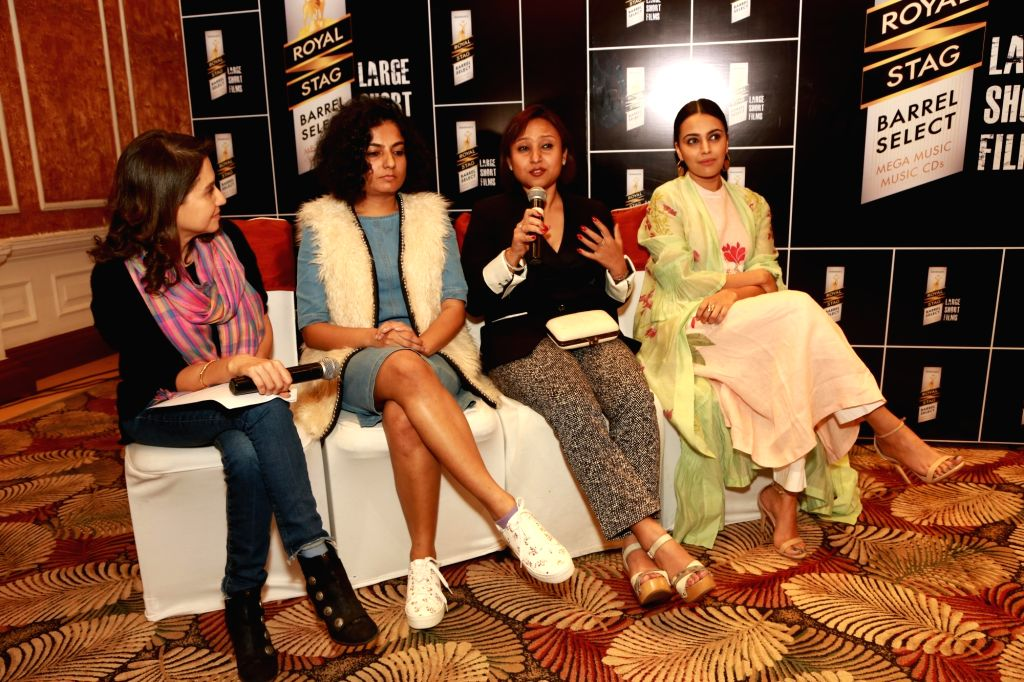 Actresses Tisca Chopra, Swara Bhasker, Anusha Bose and Veena Nair at a panel discussion hosted by Royal Stag Barrel Select Large Short Films in Gurugram on Feb 10, 2018. - Tisca Chopra, Swara Bhasker, Anusha Bose and Veena Nair