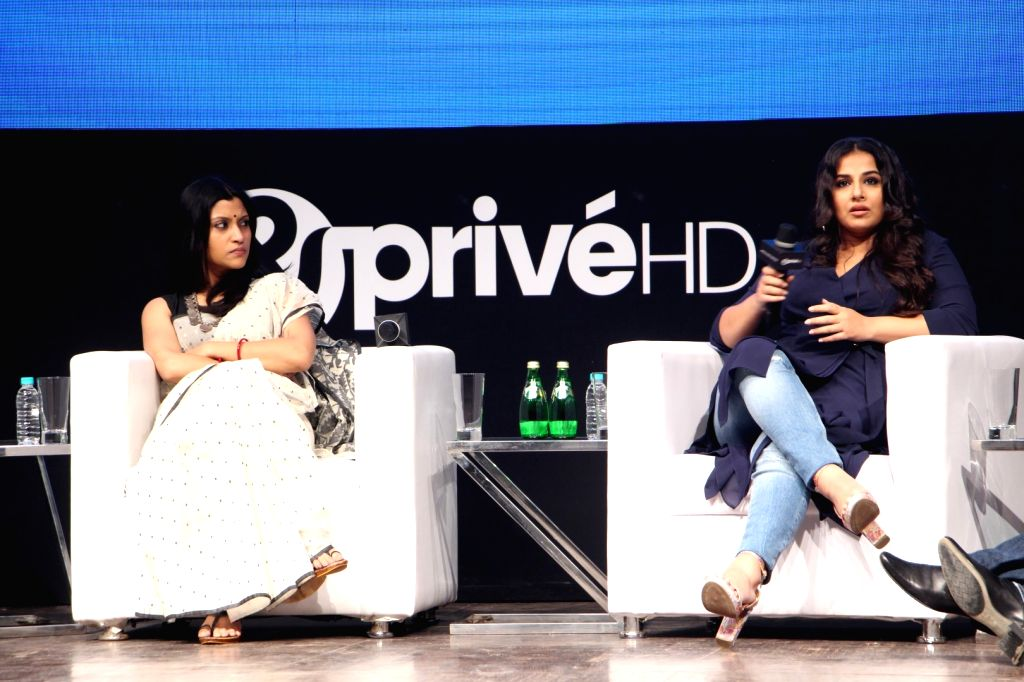Actresses Vidya Balan and Konkona Sen Sharma during the launch of new channel '& Prive HD' in Mumbai on Sept 19, 2017. - Vidya Balan and Konkona Sen Sharma