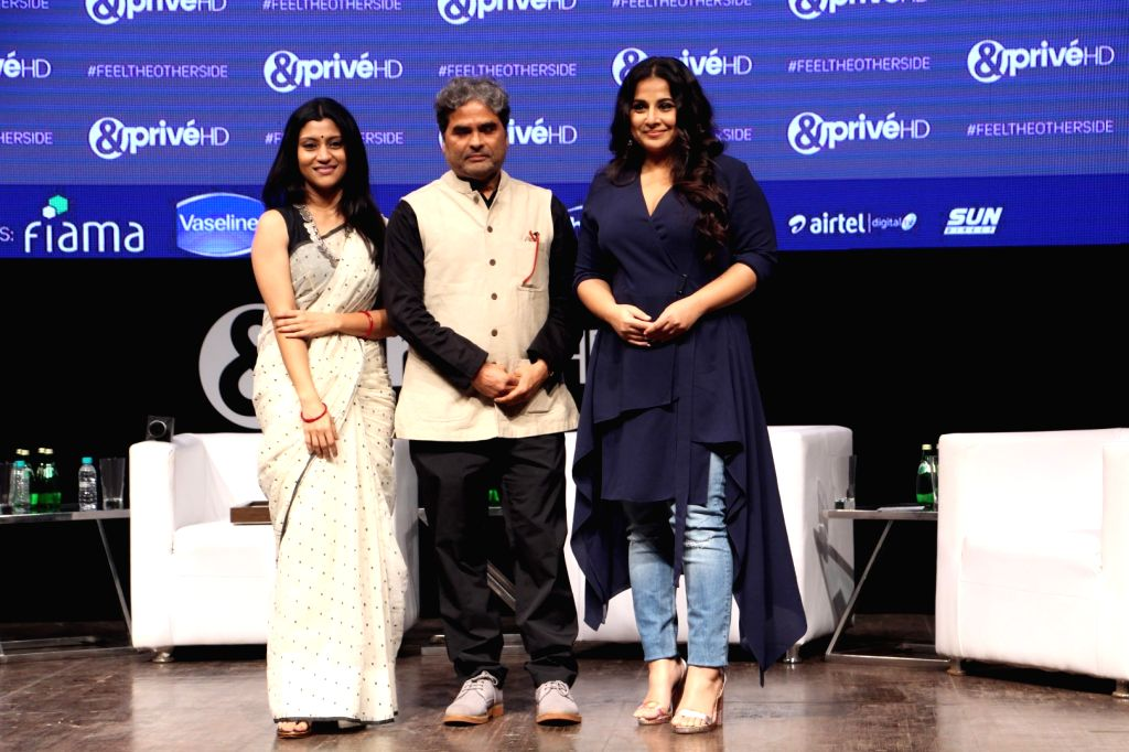 Actresses Vidya Balan, Konkona Sen Sharma and Director Vishal Bhardwaj during the launch of new channel '& Prive HD' in Mumbai on Sept 19, 2017. - Vidya Balan, Konkona Sen Sharma and Director Vishal Bhardwaj