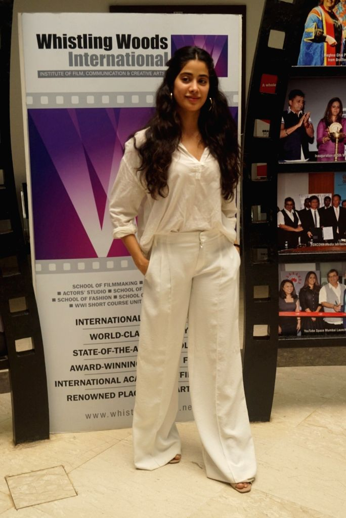 Actresss Janhvi Kapoor during a interactive session with students at the Whistling Woods in Mumbai on Aug 8, 2018. - Actresss Janhvi Kapoor