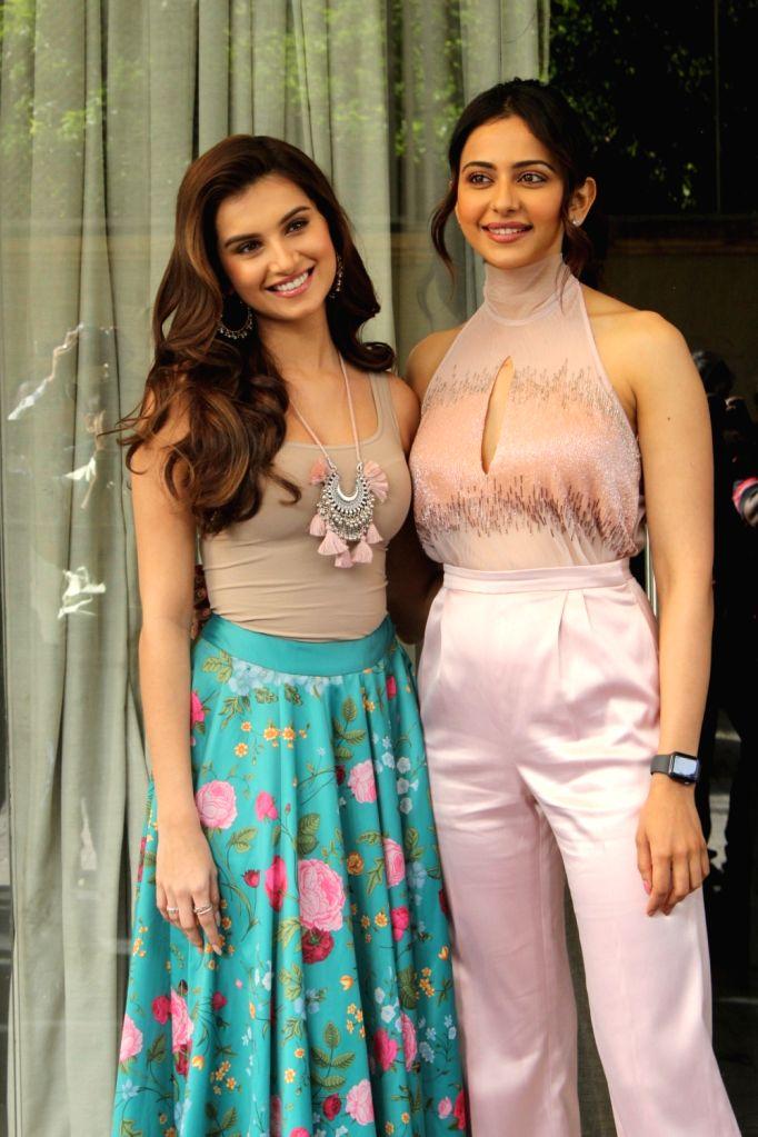 "Actresss Rakul Preet Singh and Tara Sutaria during promotions of upcoming film ""Marjaavaan"" in Mumbai on Oct 31, 2019."
