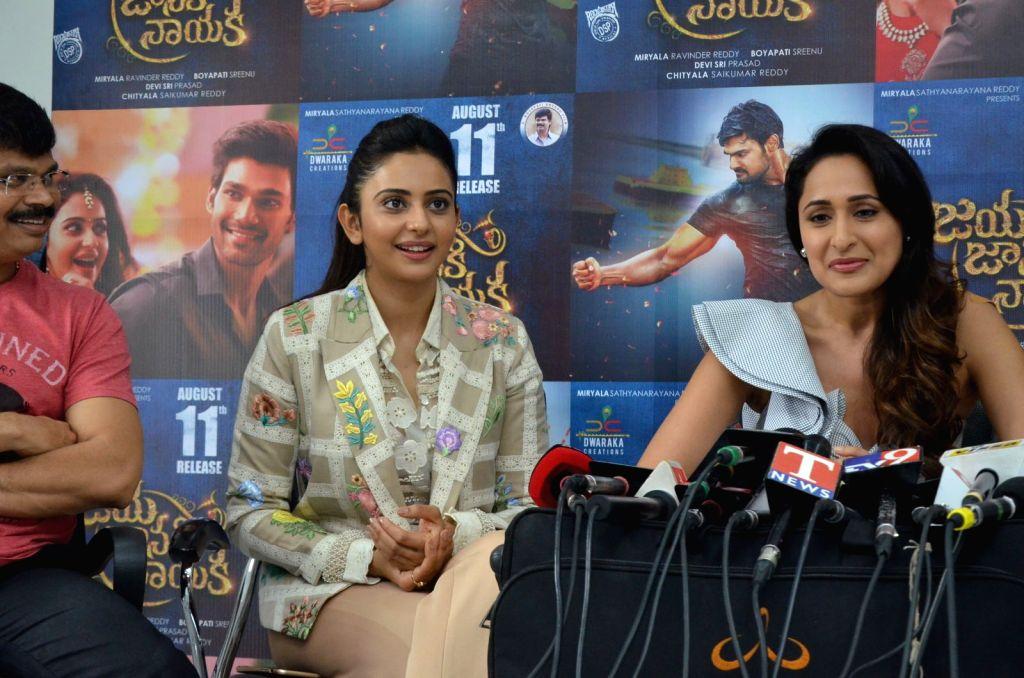 "Actresss Rakul Preeth Singh, Pragya Jaiswal stills from Telugu film ""Jaya Janaki Nayaka "" in Hyderabad."