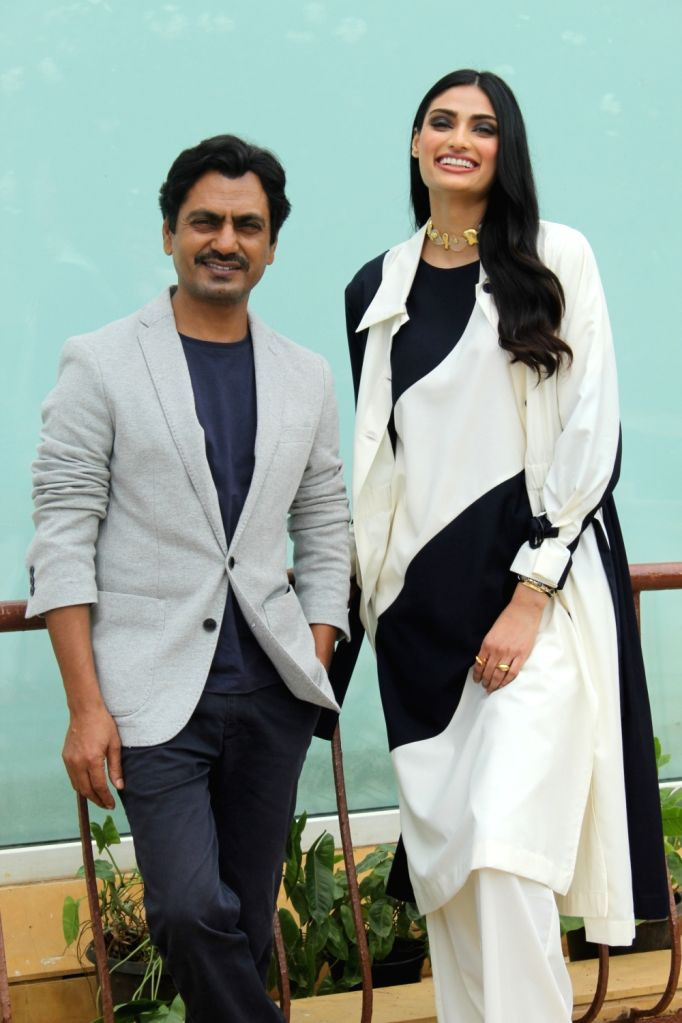 """Actros Nawazuddin Siddiqui and Athiya Shetty during a programme organsied to promote upcoming film """"Motichoor Chaknachoor"""" in Mumbai on Oct 30, 2019. - Nawazuddin Siddiqui and Athiya Shetty"""