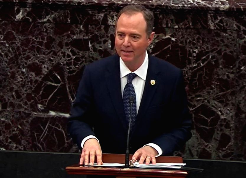 Adam Schiff, the United States House of Representatives Intelligence Committee chair, speaks at the Senate during the trial of President Donald Trump on January 22, 2020. The Democrat was the main ...