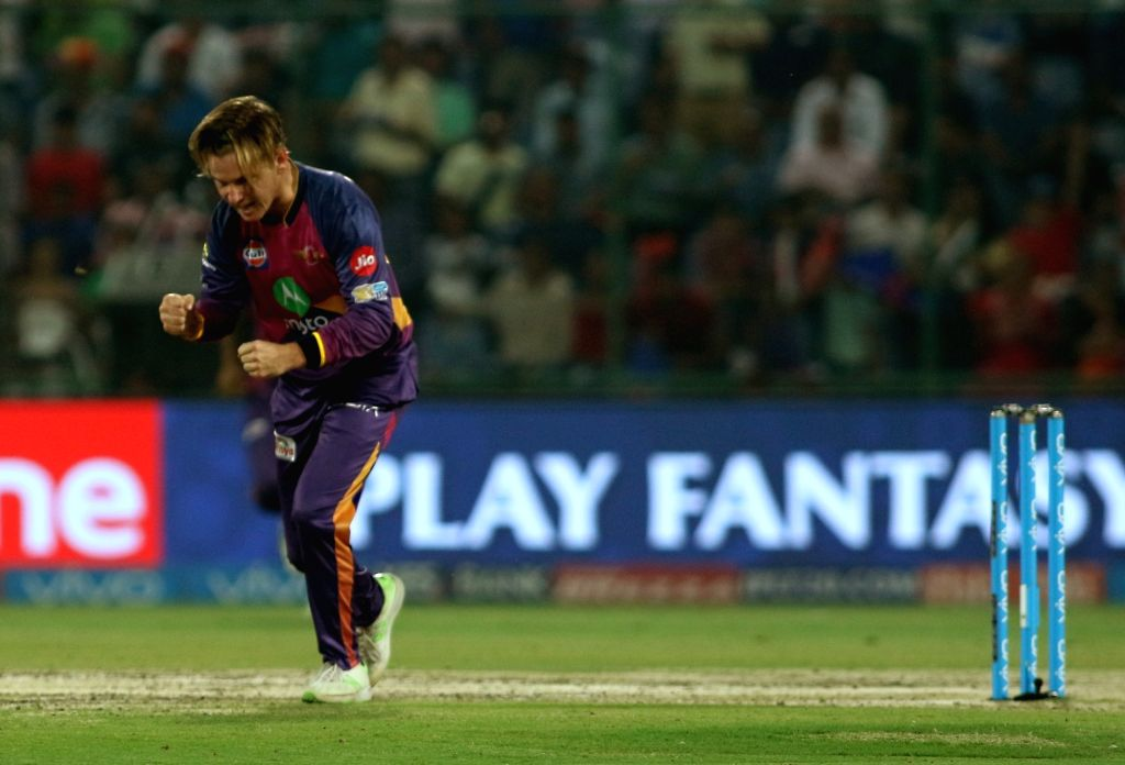 Adam Zampa of Rising Pune Supergiant celebrates the wicket of Rishabh Pant of the Delhi Daredevils during match between the Delhi Daredevils and the Rising Pune Supergiant held at the ...