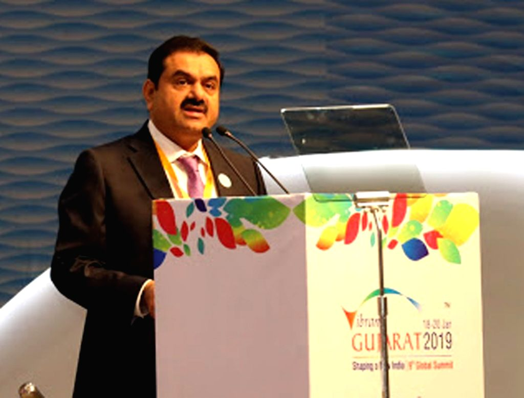 "Adani Group Chairman Gautam Adani addresses at ""Vibrant Gujarat Global Summit 2019"" in Gandhinagar on Jan 18, 2019."