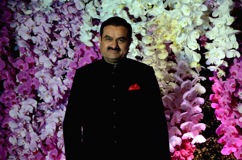 Adani Group Chairman Gautam Adani at the wedding reception of Akash Ambani and Shloka Mehta in Mumbai on March 10, 2019. - Akash Ambani and Shloka Mehta