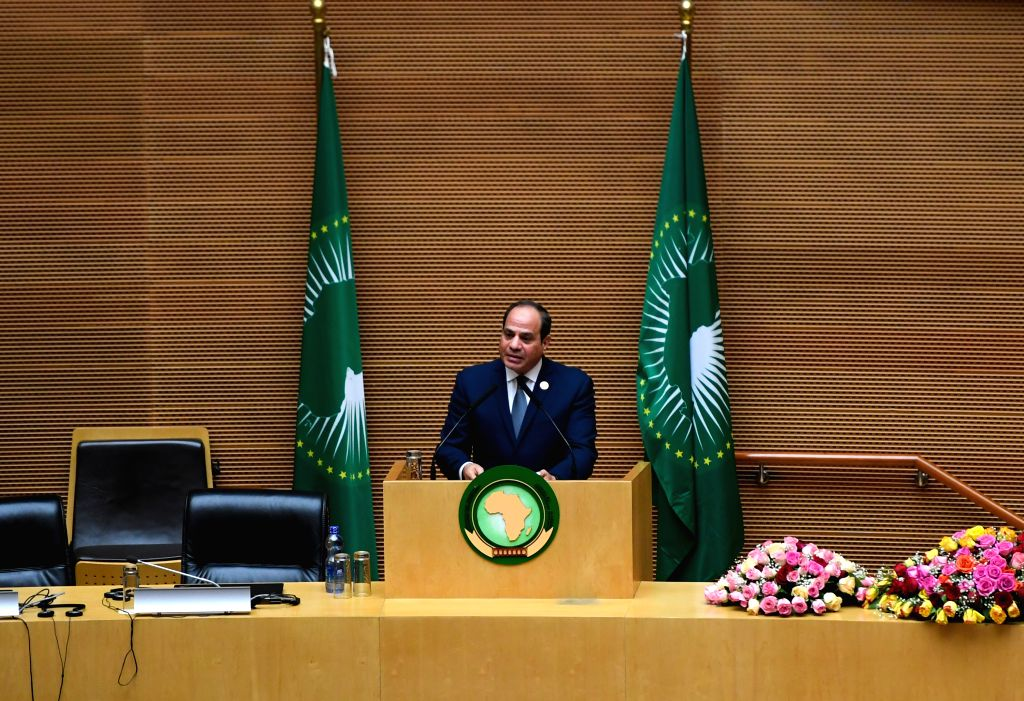 ADDIS ABABA, Feb. 10, 2019 - Egyptian President Abdel Fattah al-Sisi, who took over the rotating African Union (AU) chairmanship, delivers a speech at the 32nd African Union (AU) summit of heads of ...