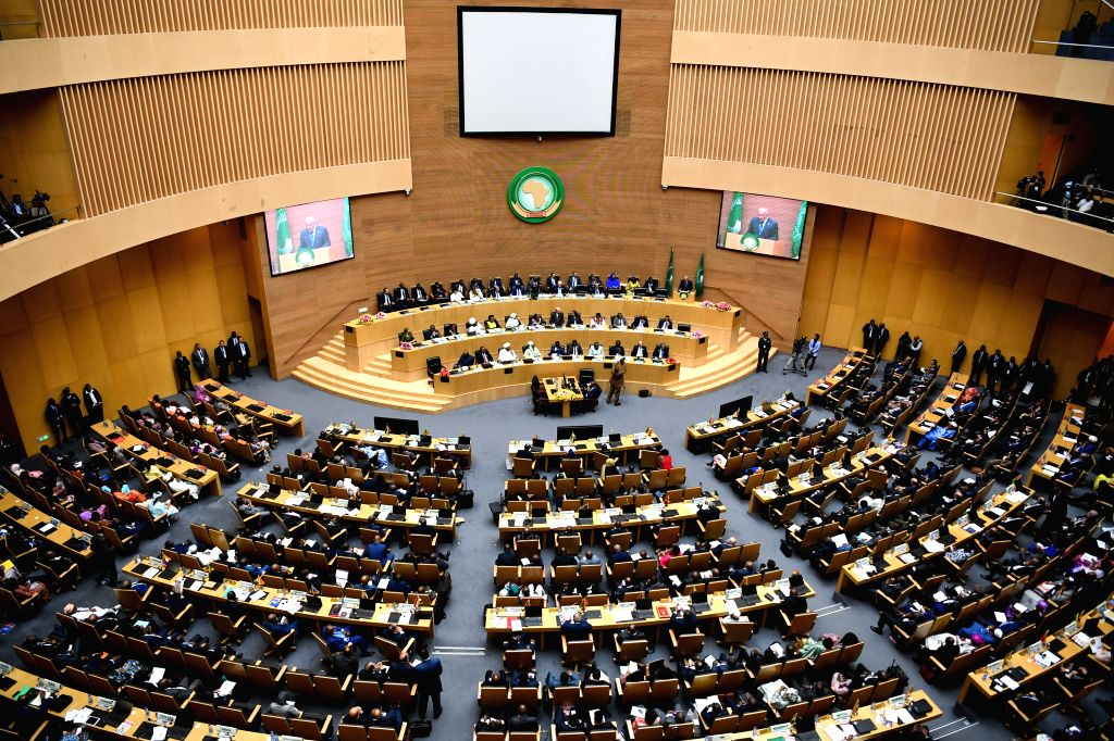 ADDIS ABABA, Feb. 10, 2019 - Photo shows the scene of the 32nd African Union (AU) summit of heads of state and government in Addis Ababa, Ethiopia, on Feb. 10, 2019. The 32nd African Union (AU) ...
