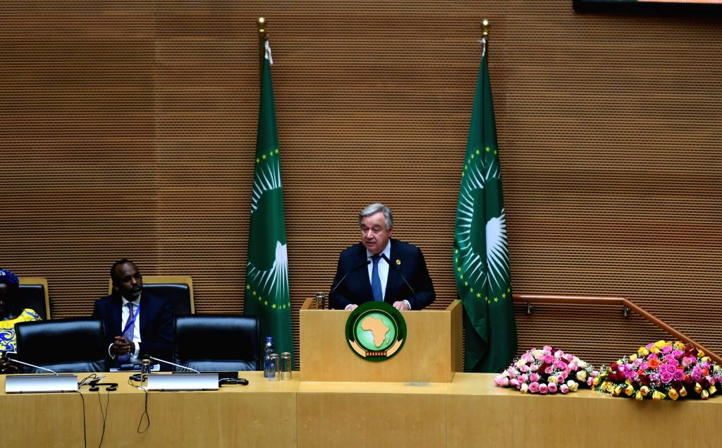 ADDIS ABABA, Feb. 10, 2019 (Xinhua) -- United Nations Secretary-General Antonio Guterres delivers a speech at the 32nd African Union (AU) summit of heads of state and government in Addis Ababa, Ethiopia, on Feb. 10, 2019. The 32nd African Union (AU)