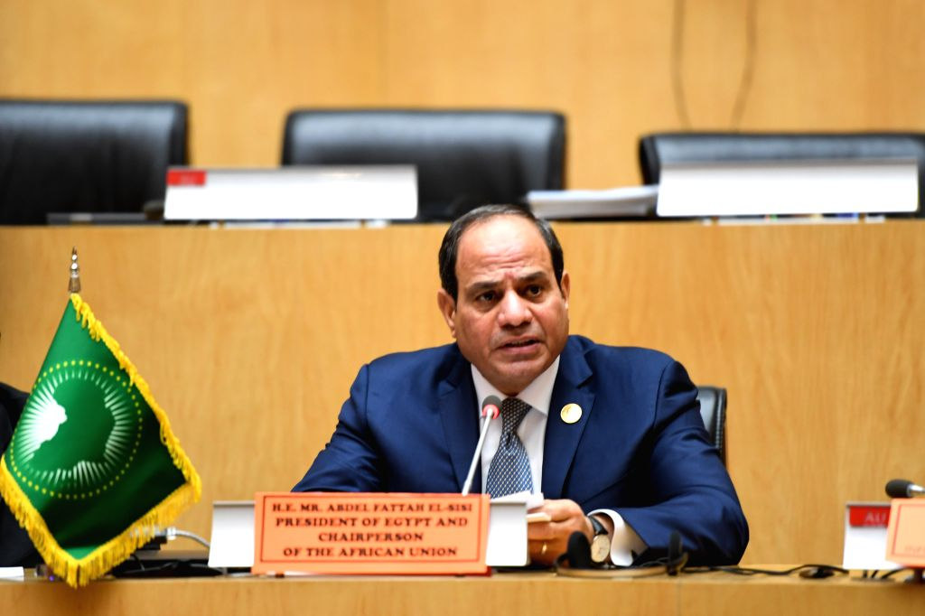 ADDIS ABABA, Feb. 12, 2019 - Egyptian President Abdel-Fattah al-Sisi speaks at the press conference after the 32nd African Union (AU) summit at the AU headquarters in Addis Ababa, Ethiopia, Feb. 11, ...