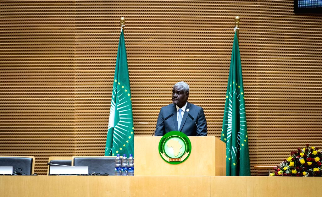 ADDIS ABABA, Jan. 28, 2018 - Moussa Faki Mahamat, Chairperson of the African Union Commission, speaks during the 30th heads of state and government summit of the African Union (AU) at the AU ...