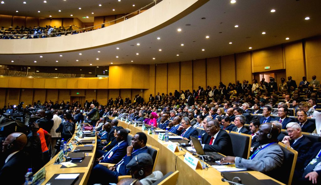 ADDIS ABABA, Jan. 28, 2018 - Photo taken on Jan. 28, 2018 shows the 30th heads of state and government summit of the African Union (AU) at the AU headquarters in Addis Ababa, capital of Ethiopia. The ...