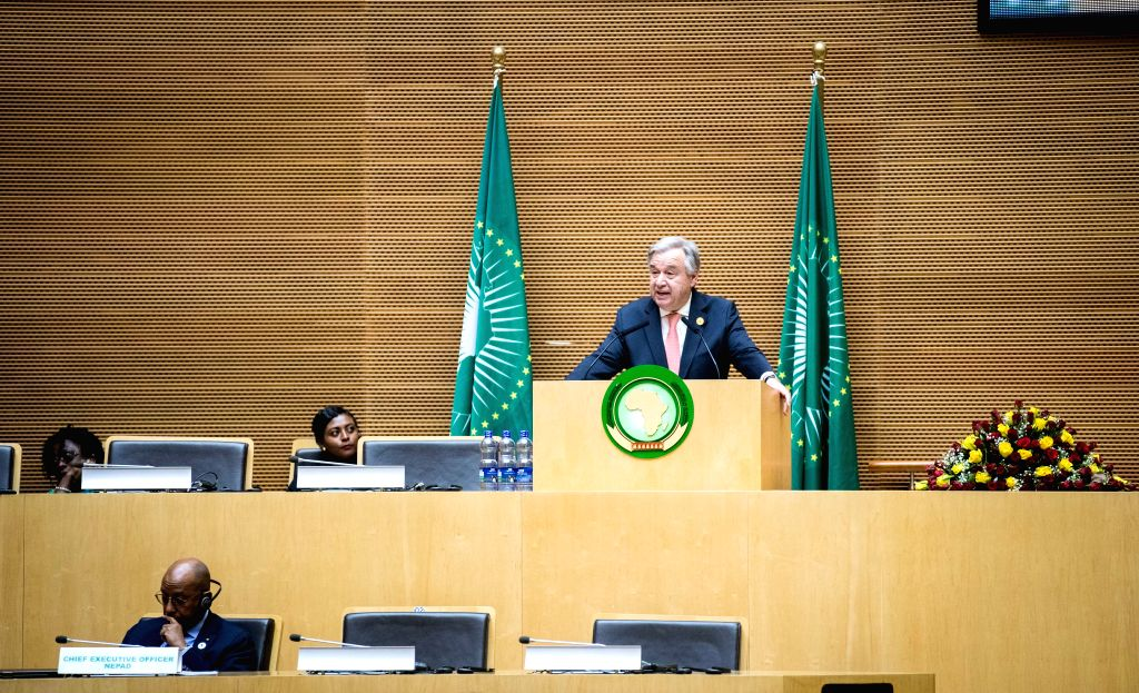 ADDIS ABABA, Jan. 28, 2018 - United Nations Secretary-General Antonio Guterres delivers a keynote speech during the 30th heads of state and government summit of the African Union (AU) at the AU ...