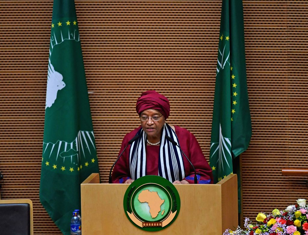 ADDIS ABABA, July 4, 2017 - Liberian President Ellen Johnson Sirleaf addresses the closing session of the 29th African Union summit in Addis Ababa, capital of Ethiopia, on July 4, 2017. The 29th ...