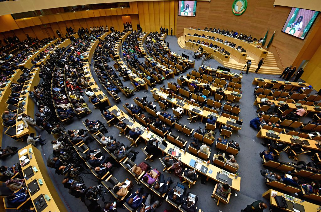 ADDIS ABABA, July 4, 2017 - Photo taken on July 4, 2017 shows the closing session of the 29th African Union summit in Addis Ababa, capital of Ethiopia. The 29th African Union (AU) summit concluded on ...