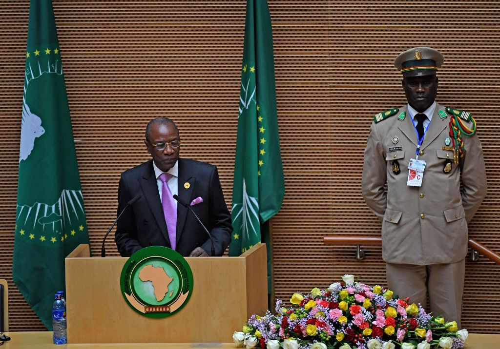 ADDIS ABABA, July 4, 2017 - The African Union Chairman Alpha Conde (L), who is also president of the Republic of Guinea,  addresses the closing session of the 29th African Union summit in Addis ...