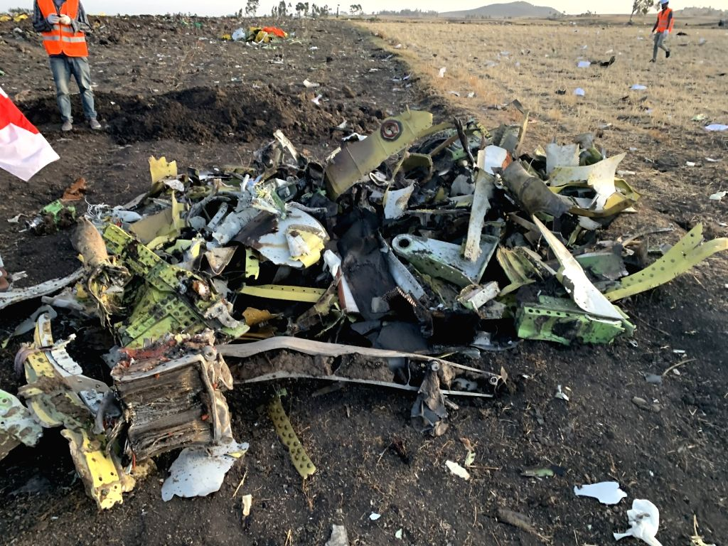 ADDIS ABABA, March 10, 2019 (Xinhua) -- The wreckage of an Ethiopian Airlines' aircraft is seen at the crash site, some 50 km east of Addis Ababa, capital of Ethiopia, on March 10, 2019. All 157 people aboard Ethiopian Airlines flight were confirmed