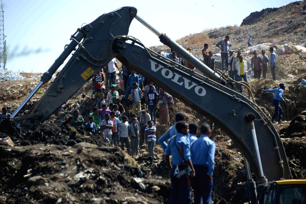 ADDIS ABABA, March 12, 2017 - Rescuers search for missing people at the site where a massive garbage dump landslide occurred at the outskirts of Ethiopia's capital Addis Ababa, March 12, 2017. The ...