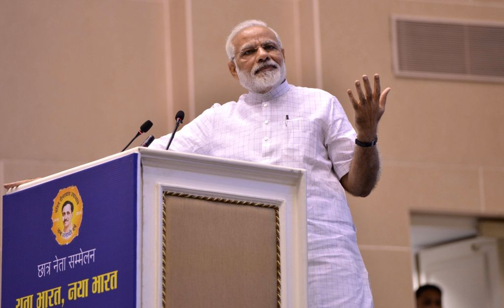 addresses,Prime Minister Narendra Modi addresses during convention of student leaders on the theme of 'Young India, New India' and 125th anniversary of Swami Vivekanand's Chicago address ... - Narendra Modi