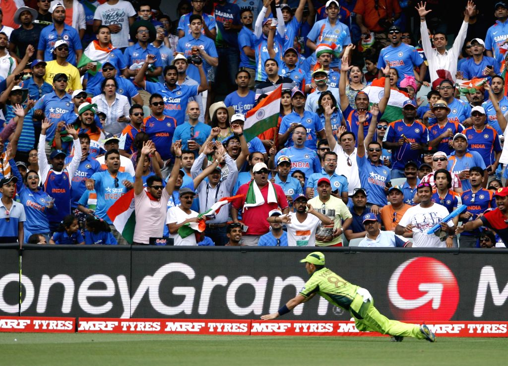 A Pakistani player in action during an ICC World Cup 2015 match between India and Pakistan at Adelaide Oval in Adelaide, Australia on Feb 15, 2015.