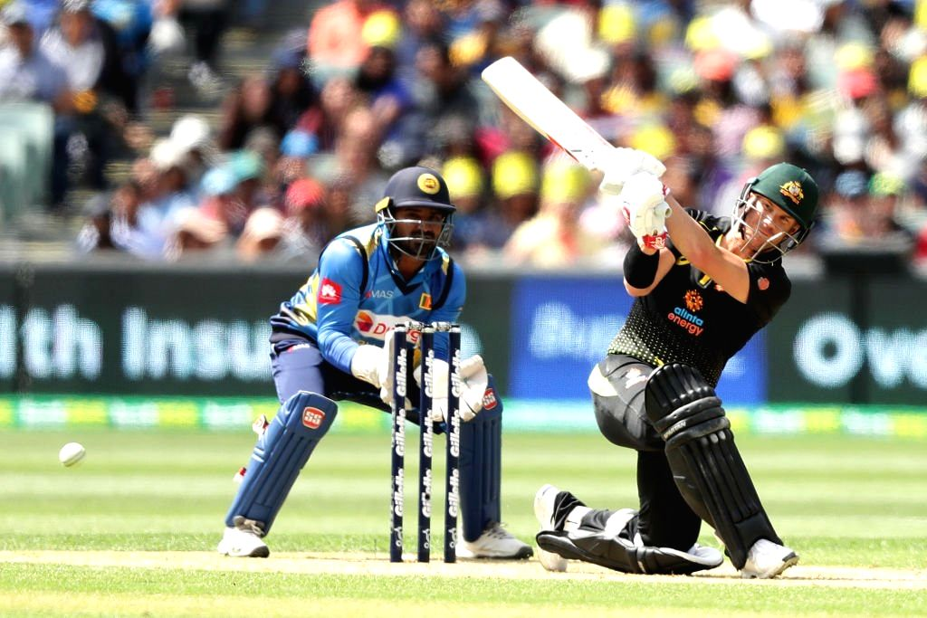 Adelaide: Australia's David Warner in action during the 1st T20I match between Sri Lanka and Australia at Adelaide Oval in Adelaide on Oct 27, 2019. (Photo: IANS/@ICC)