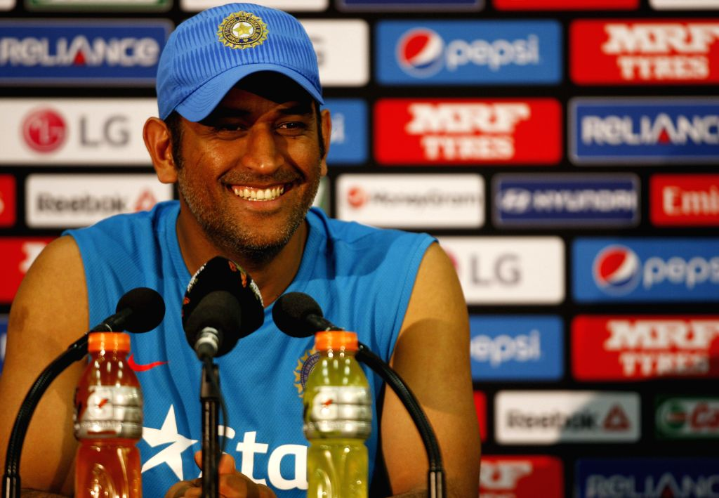 Indian captain M S Dhoni addresses a press conference at Adelaide Oval in Adelaide,  Australia on Feb 14, 2015. - M S Dhoni