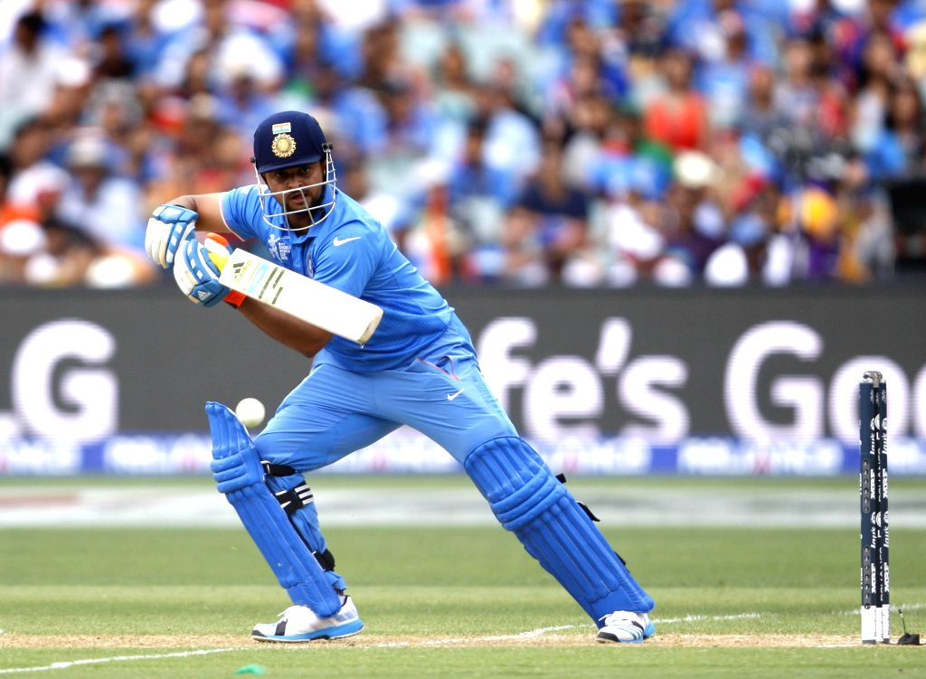 Indian cricketer Suresh Raina in action during an ICC World Cup 2015 match between India and Pakistan at Adelaide Oval in Adelaide, Australia on Feb 15, 2015.